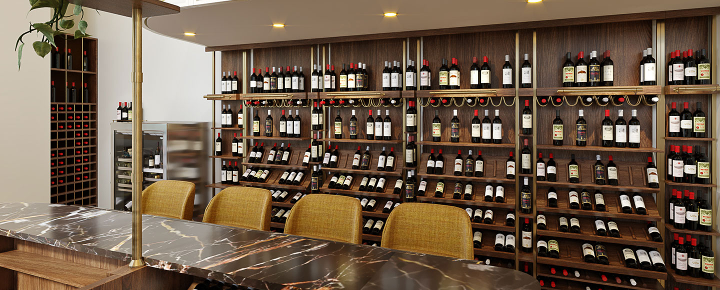 seated bar inside wine store